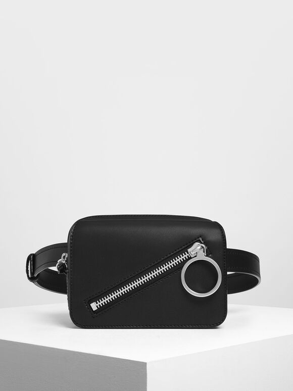 Ring Zip Pocket Two-Way Belt Bag, Black, hi-res