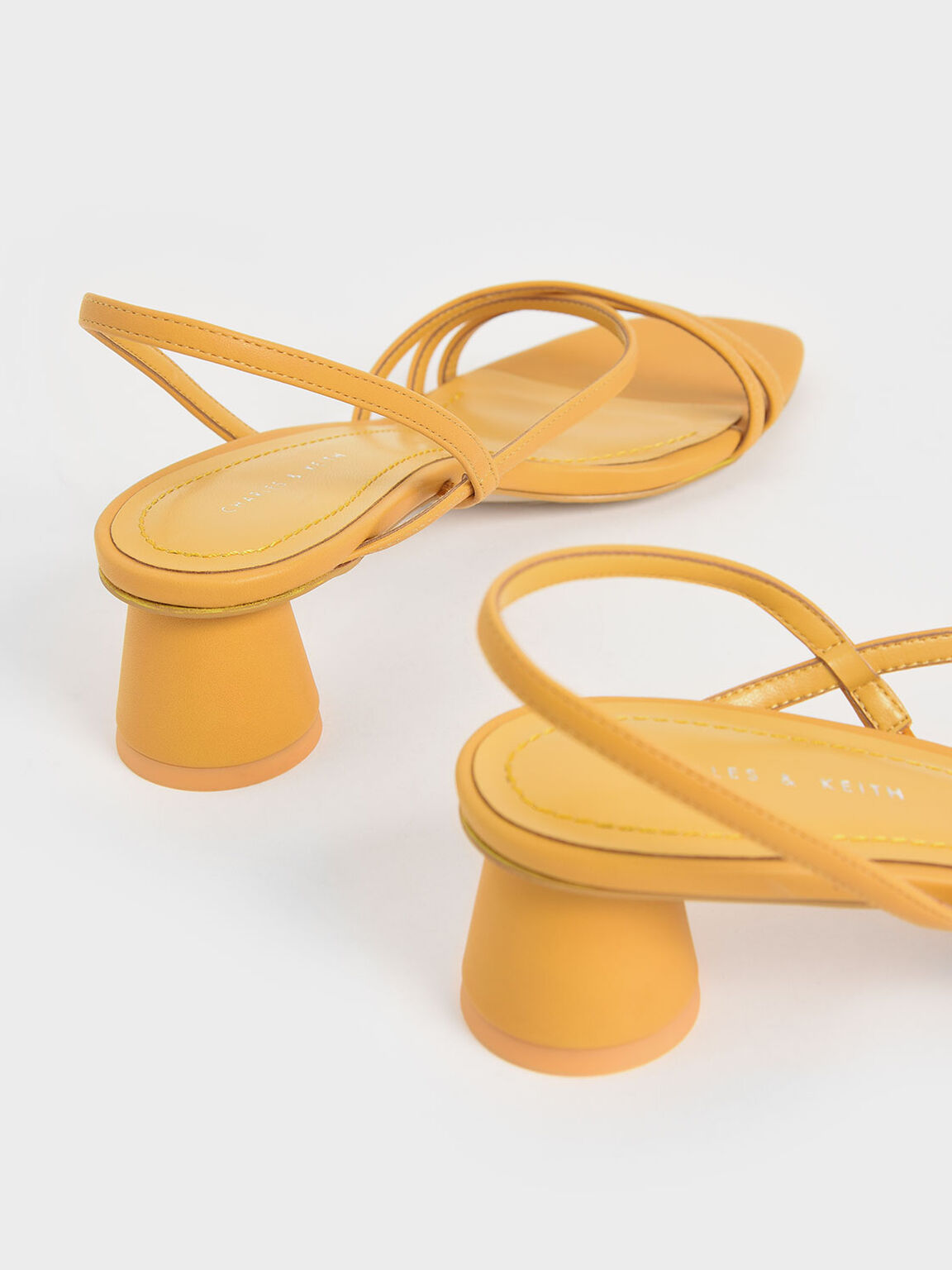 Strappy Cylindrical Heel Sandals, Yellow, hi-res