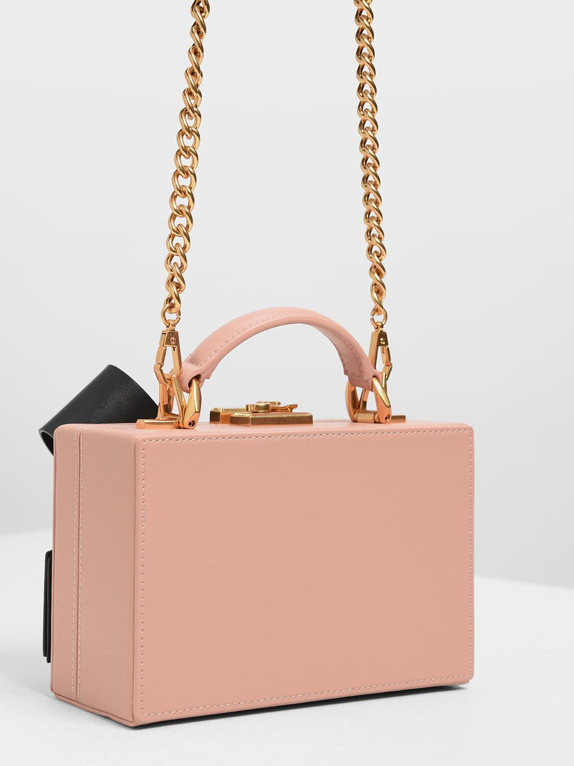 Ribbon Push-lock Bag, Pink, hi-res