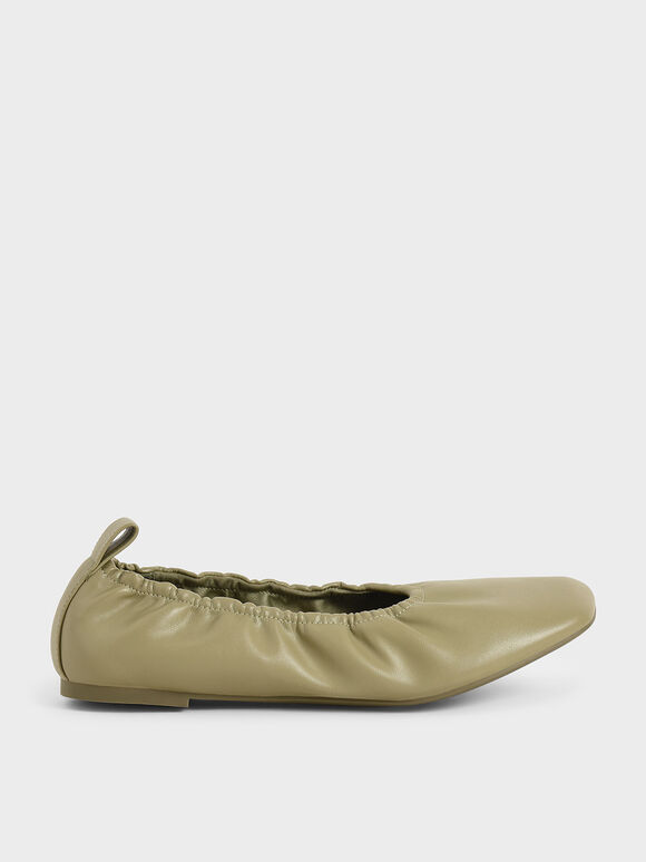 抓皺方頭平底鞋, 灰綠色, hi-res