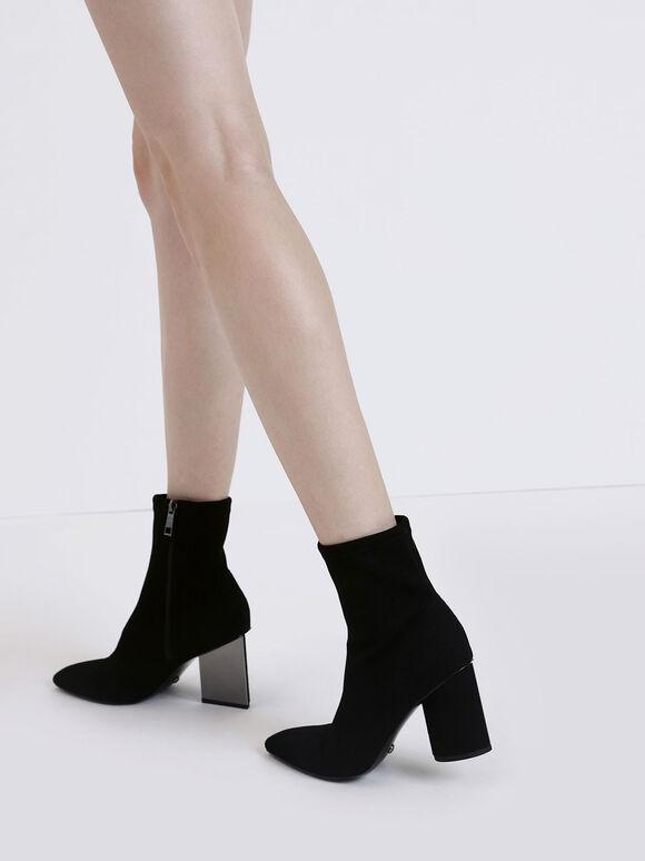 Sculptural Heel Corduroy Zip-Up Ankle Boots, Black, hi-res