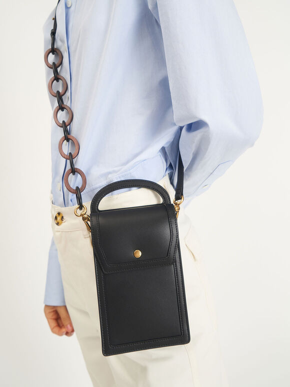 Chain Link Mini Pouch, Black, hi-res