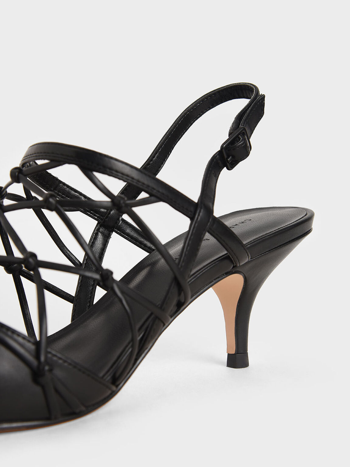 Caged Slingback Pumps, Black, hi-res