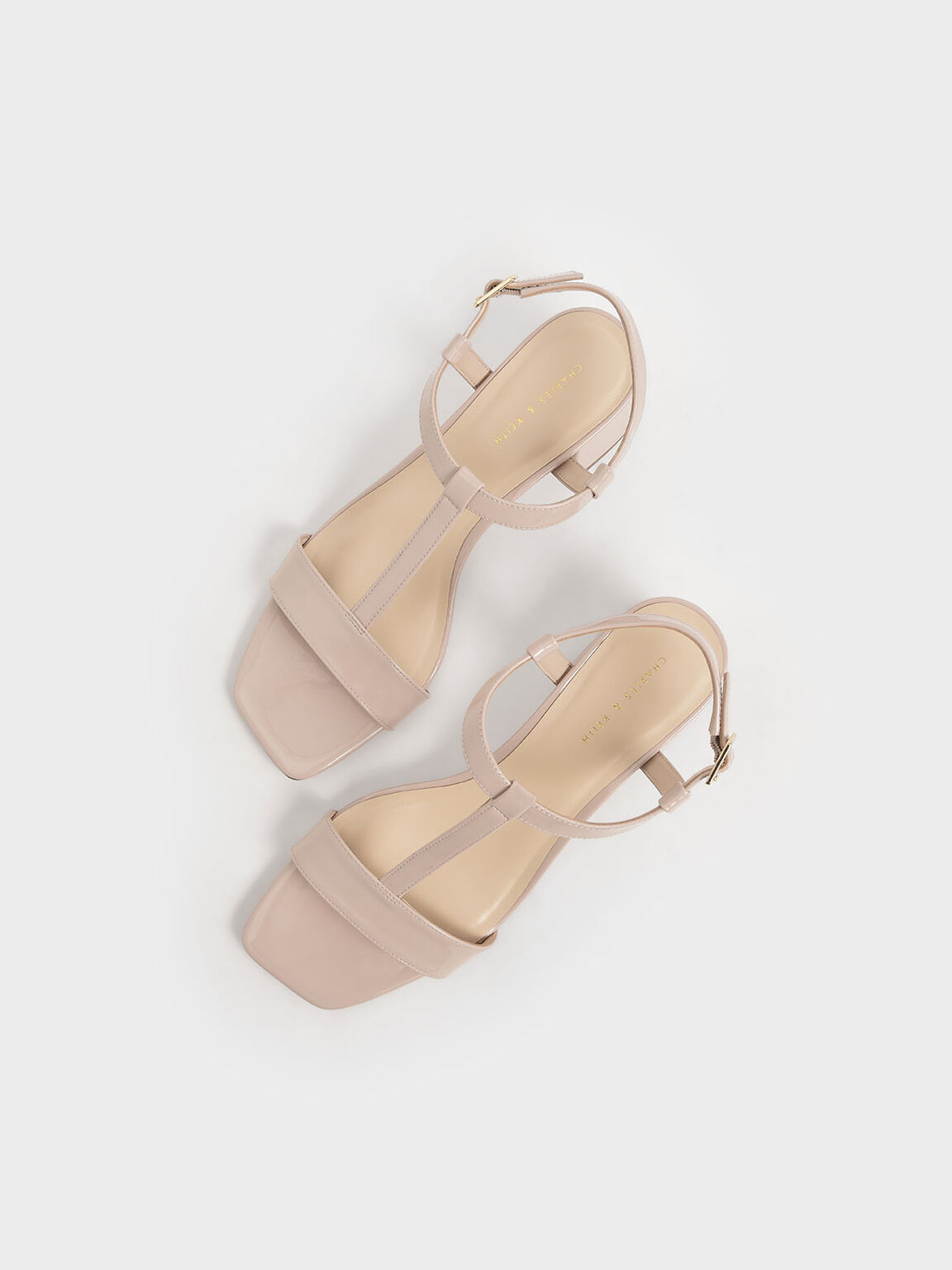 Patent T-Bar Block Heel Sandals, Nude, hi-res