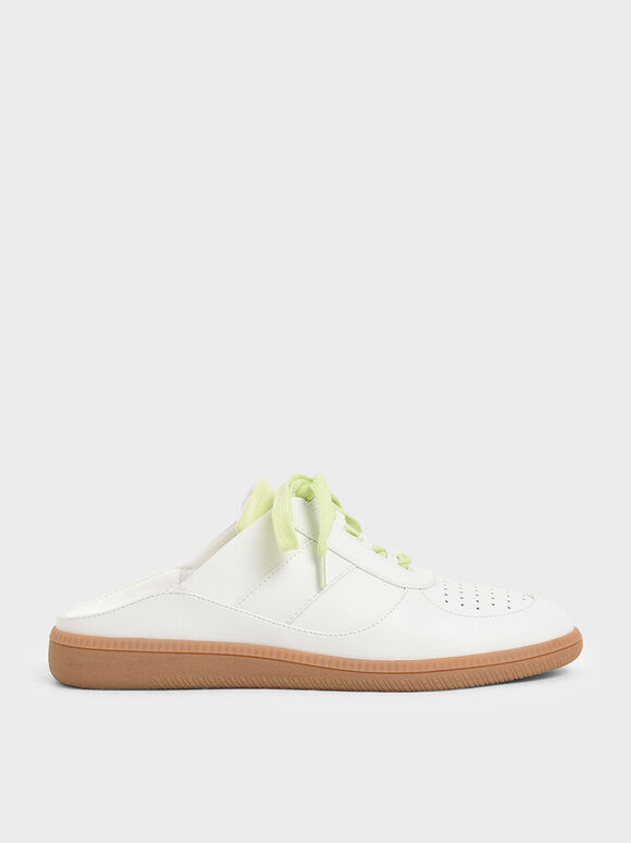 Lace Up Sneaker Mules, White, hi-res