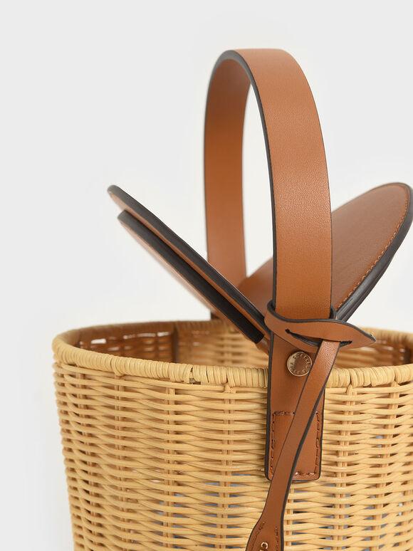 Rattan Cylindrical Top Handle Bag, Cognac, hi-res