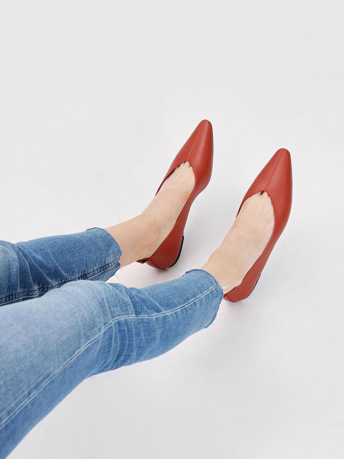 V字尖頭平底鞋, 橘色, hi-res