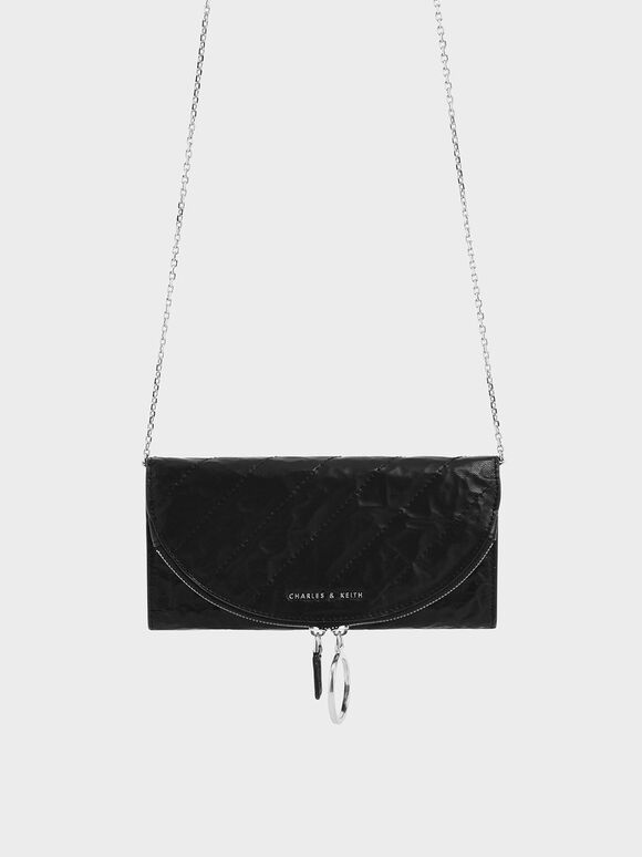 Wrinkled Effect Ring Zip Flap Long Wallet, Black, hi-res