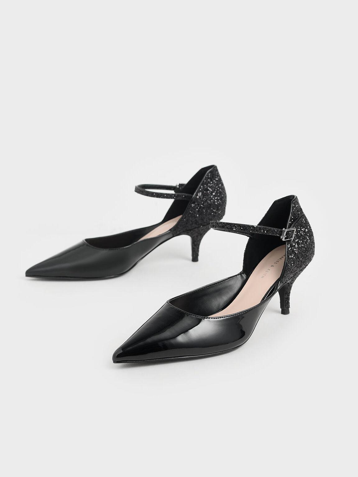 Patent Glitter Kitten Heel Pumps, Black, hi-res