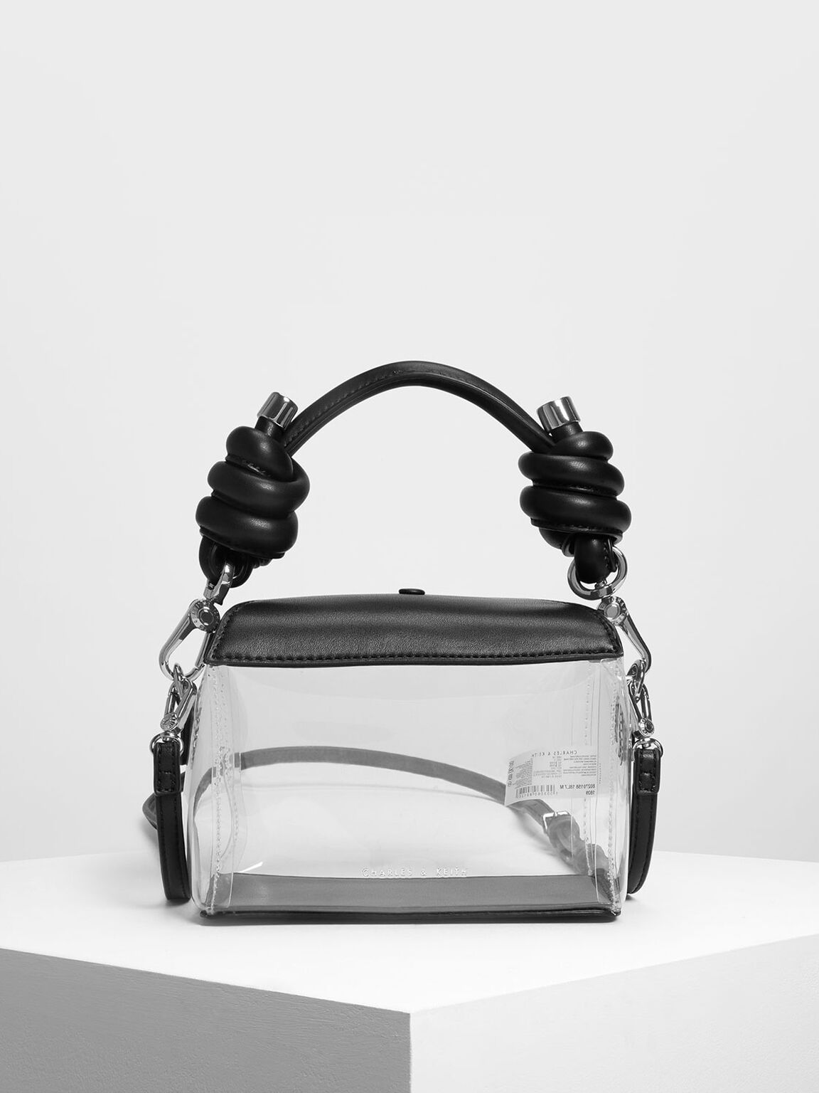 Knot Detail Handle See Through Bag, Black, hi-res