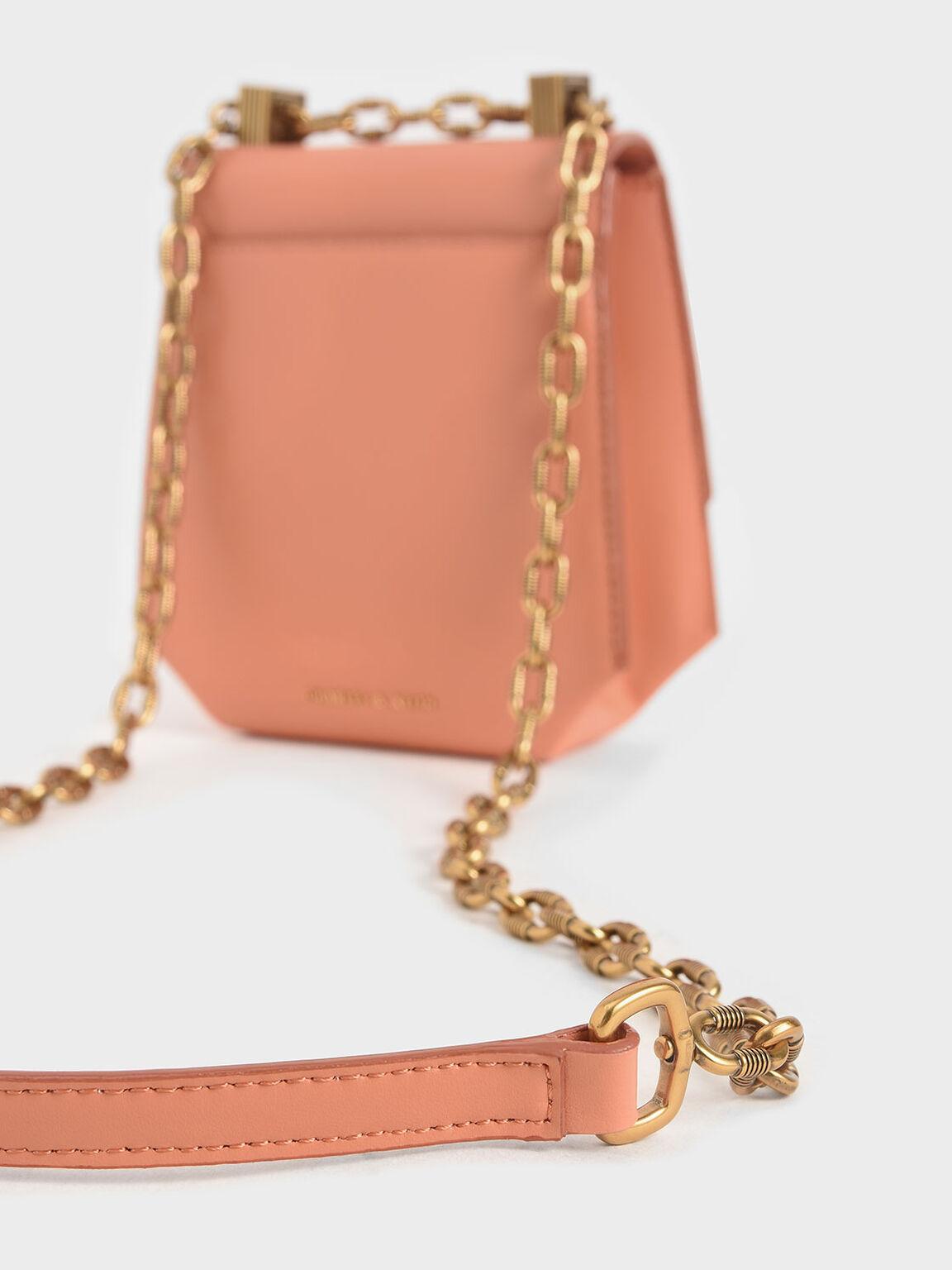 Metallic Accent Geometric Crossbody Bag, Peach, hi-res