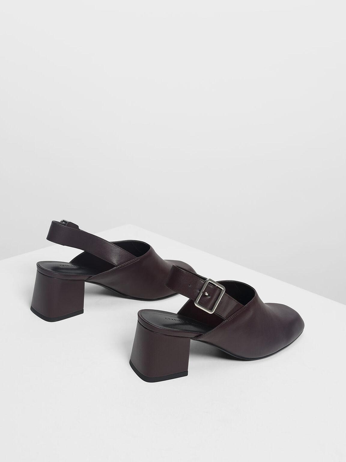Block Heel Slingbacks, Purple, hi-res
