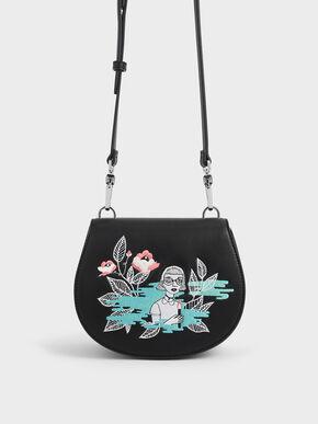 CHARLES & KEITH By Teeteeheehee: Embroidered Crossbody Bag, Black, hi-res