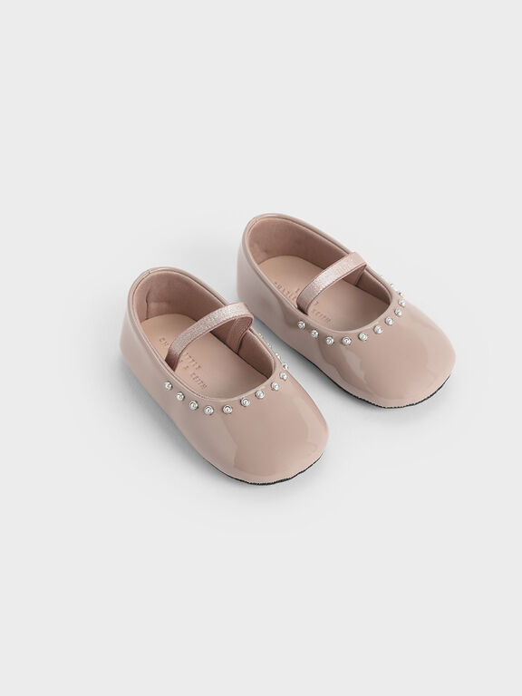 Baby Girls' Embellished Trim Patent Mary Jane Flats, Nude, hi-res