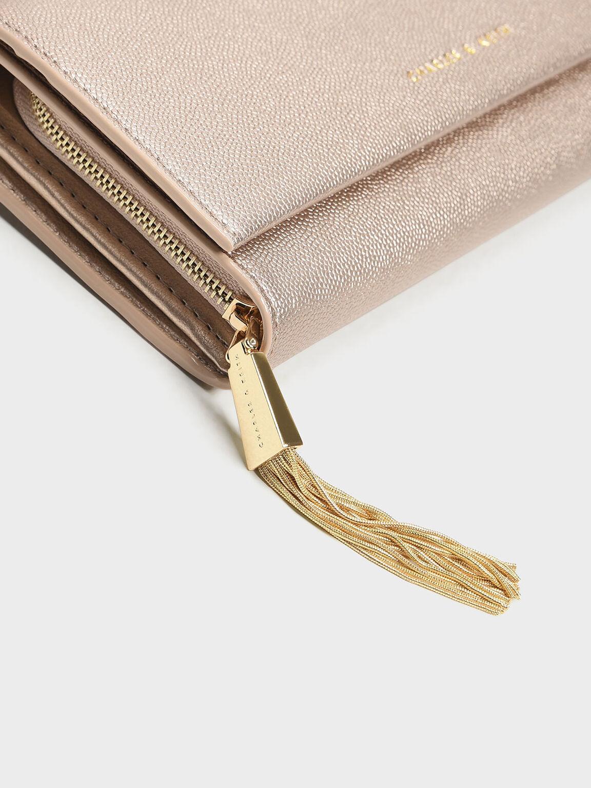 Front Flap Long Wallet, Rose Gold, hi-res