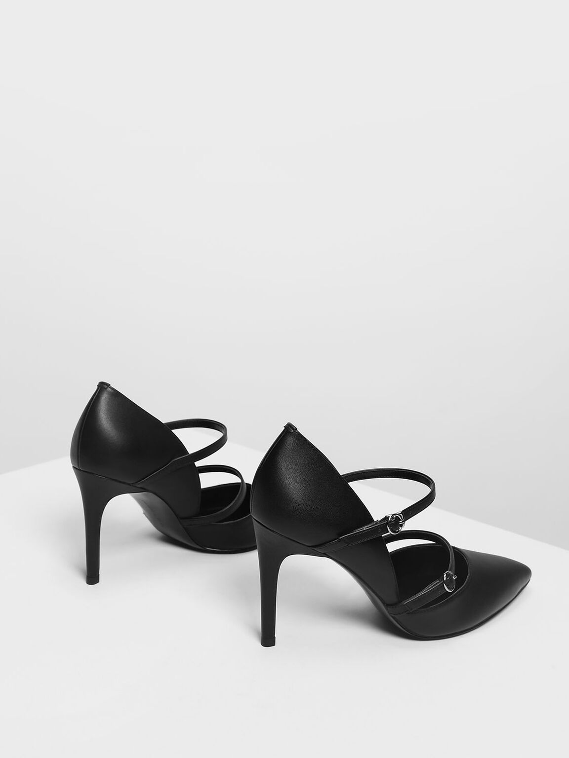 Double Strap Mary Jane Heels, Black, hi-res