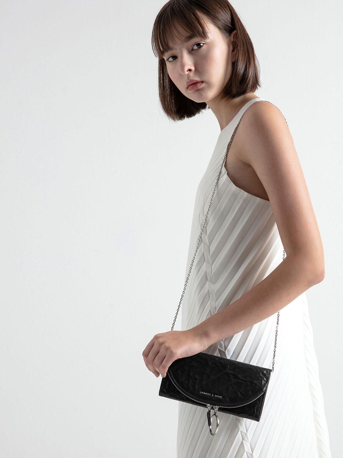 Wrinkled Effect Ring Zip Flap Long Wallet, Black, hi-res