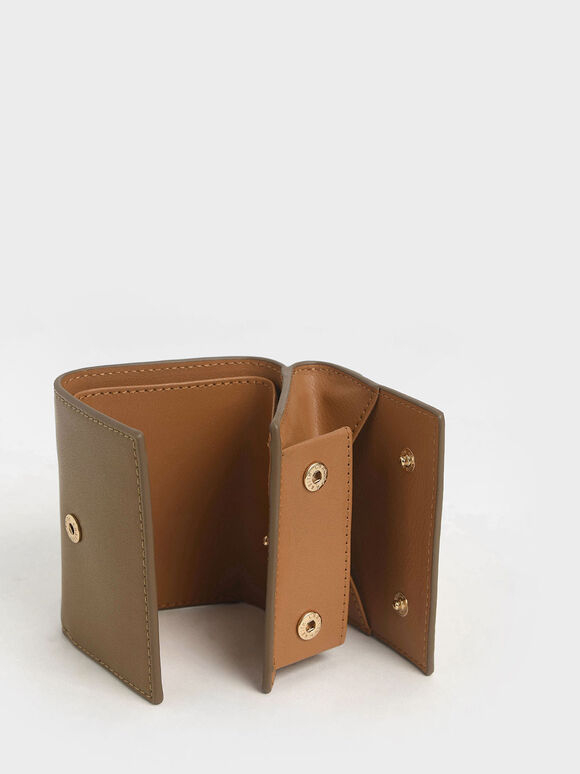 Two-Tone Stitch-Trim Wallet, Khaki, hi-res