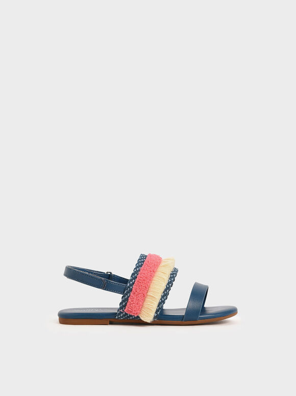 Girls' Woven & Frill Strap Slingback Flats, Dark Blue, hi-res