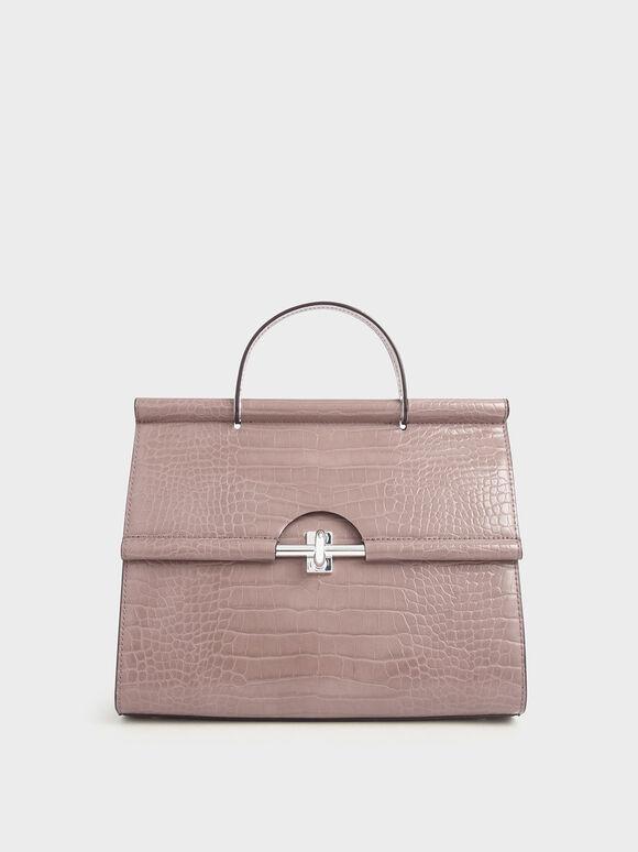 Croc-Effect Structured Single Top Handle Bag, Mauve, hi-res