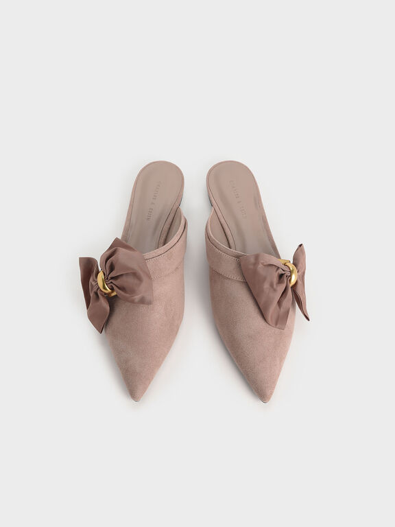 Oversized Bow Asymmetric-Cut Textured Mules, Nude, hi-res