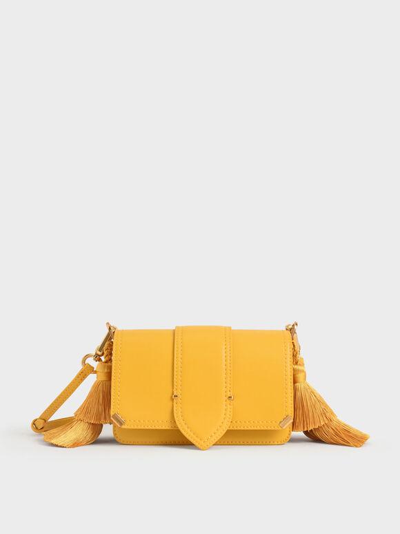 Molly Chiang Collection: Tassel Shoulder Bag, Yellow, hi-res