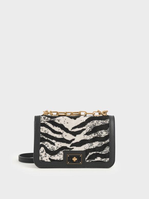 Velvet White Tiger Print Chain Handle Crossbody Bag, Multi, hi-res