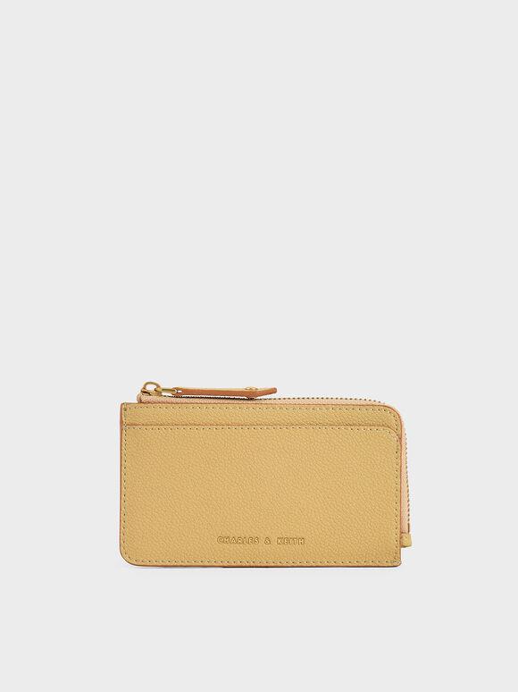 Zip Card Holder, Yellow, hi-res
