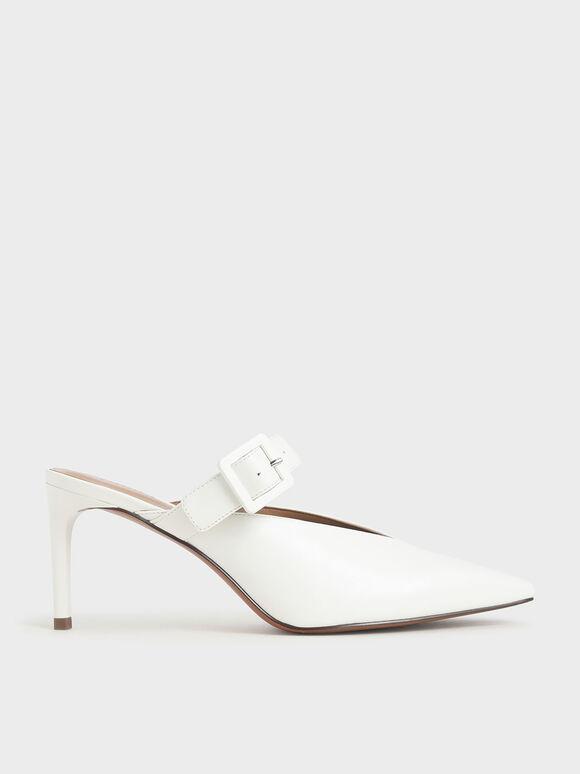 Mary Jane Strap Stiletto Mules, White, hi-res