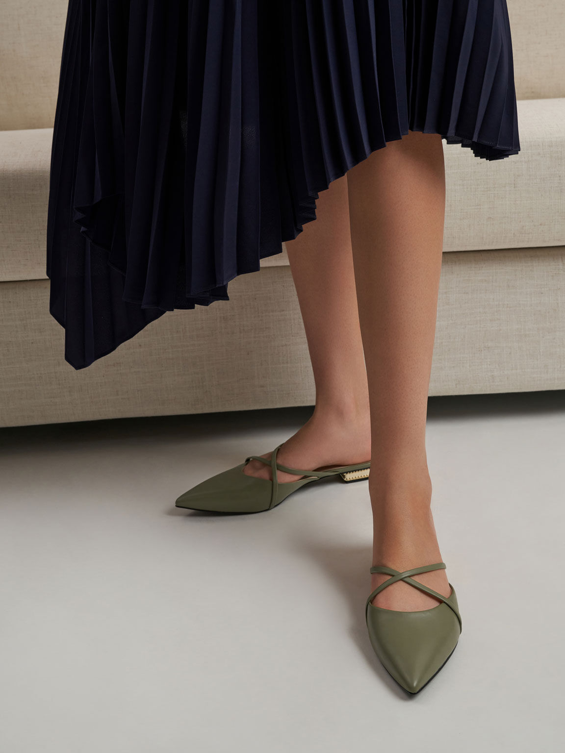 Pointed Toe Cross Strap Mules, Olive, hi-res