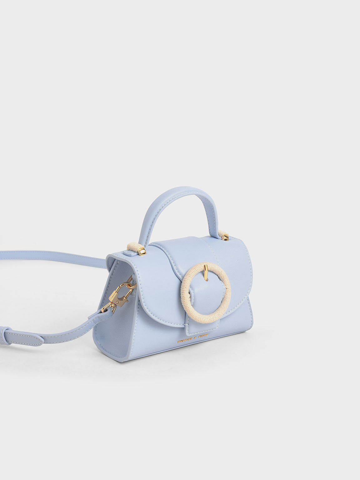 Woven Buckle Mini Bag, Light Blue, hi-res