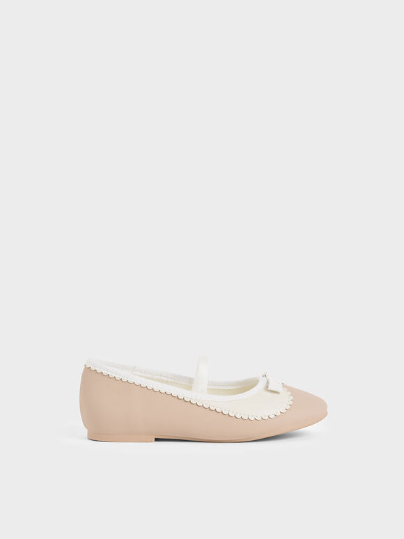 Girls' Scallop Trim Ballerina Flats, Pink, hi-res