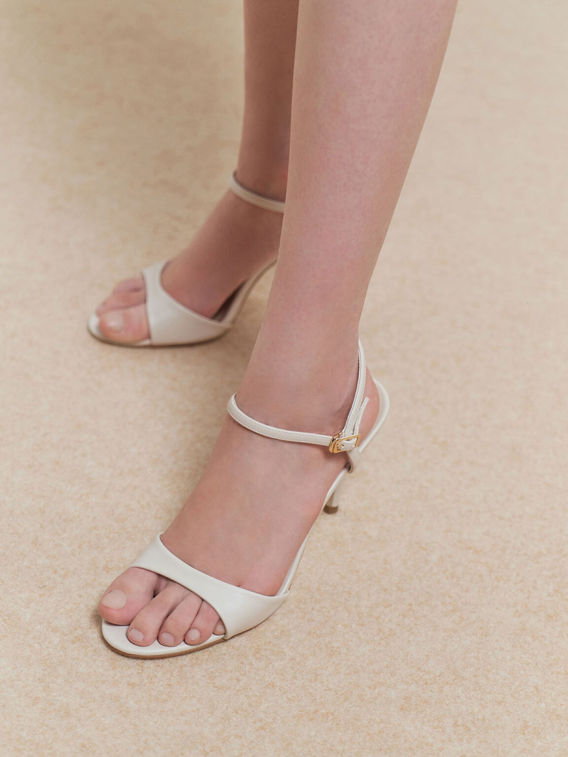 Ankle Strap Stiletto Sandals, Chalk, hi-res