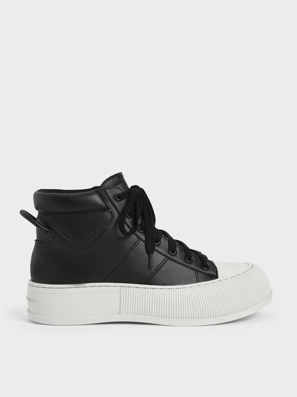 Two-Tone High-Top Sneakers, Black, hi-res
