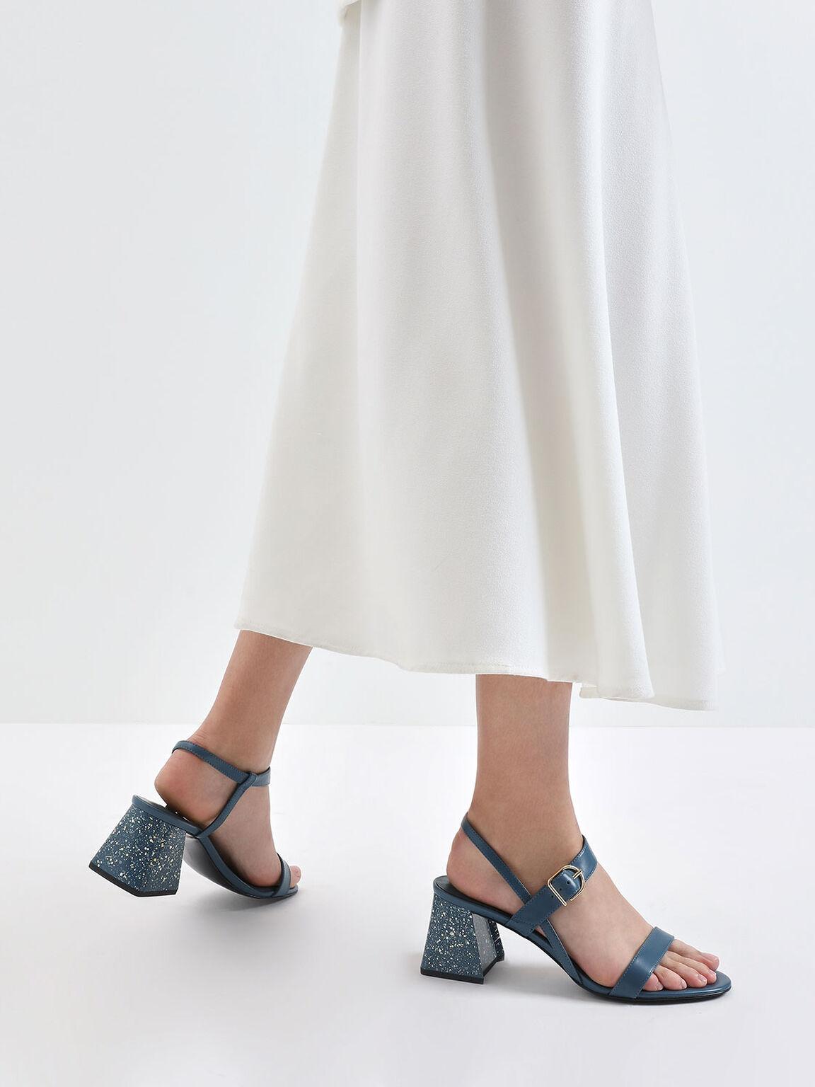 Terrazzo Print Flare Block Heel Sandals, Blue, hi-res