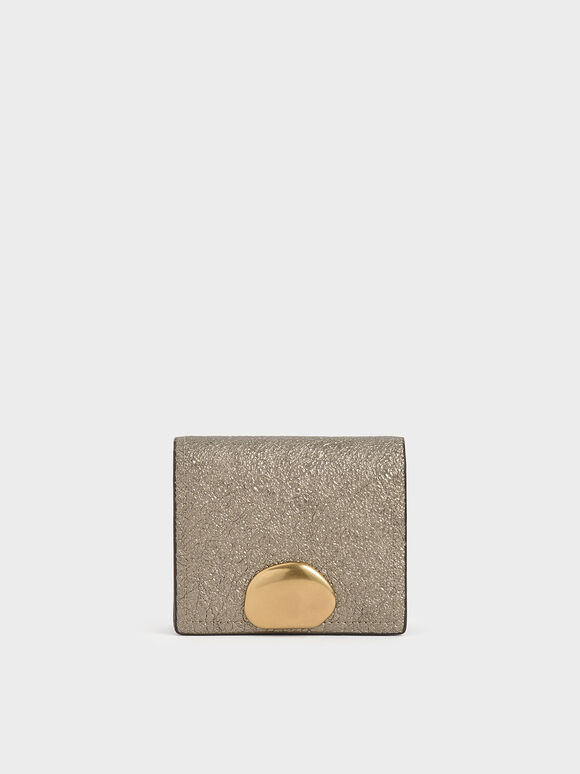Metallic Accent Snap Button Card Holder, Bronze, hi-res