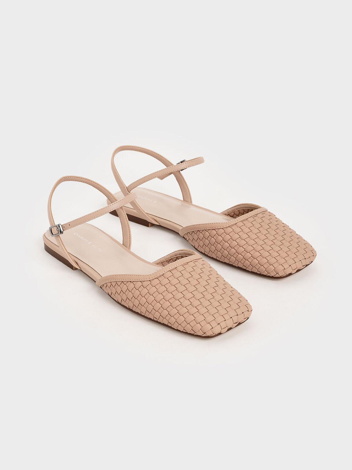 Woven Square Toe Flats, Nude, hi-res