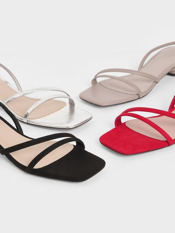 線條方頭涼鞋, 黑色, hi-res