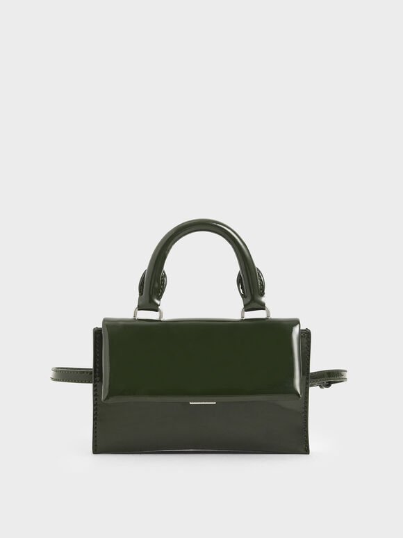 Patent Belt Bag, Green, hi-res