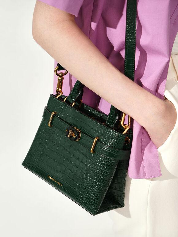 Croc-Effect Turn-Lock Tote Bag, Green, hi-res