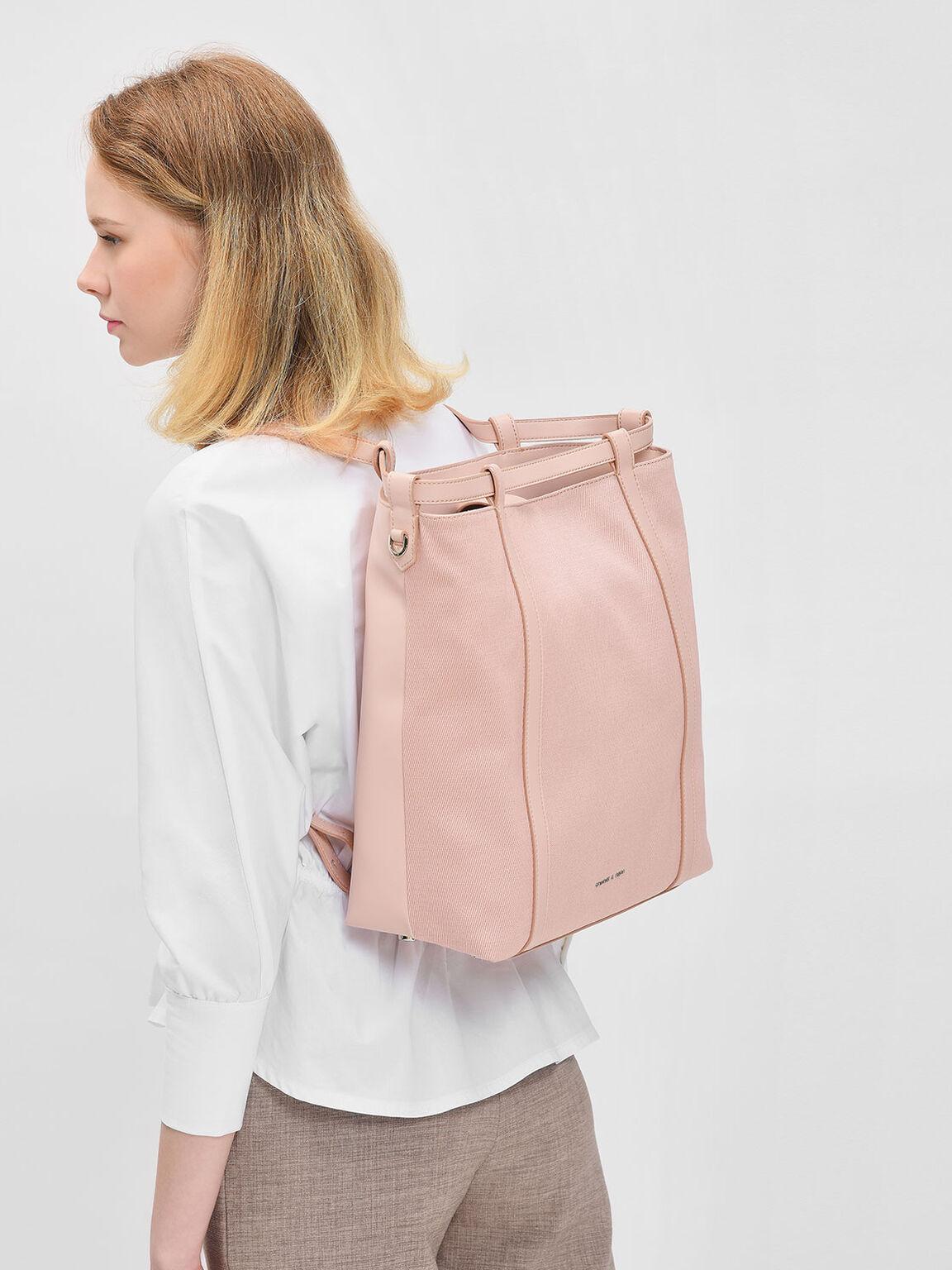 束口肩背包, 嫩粉色, hi-res