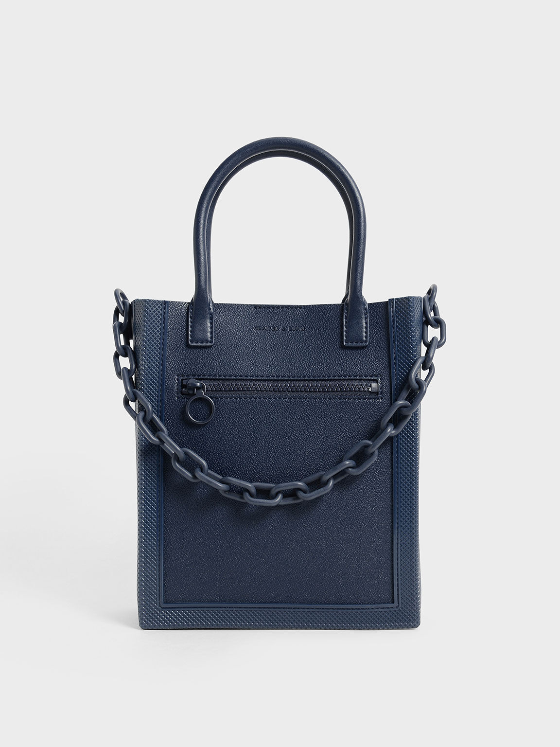 Chain Link Tote Bag, Navy, hi-res