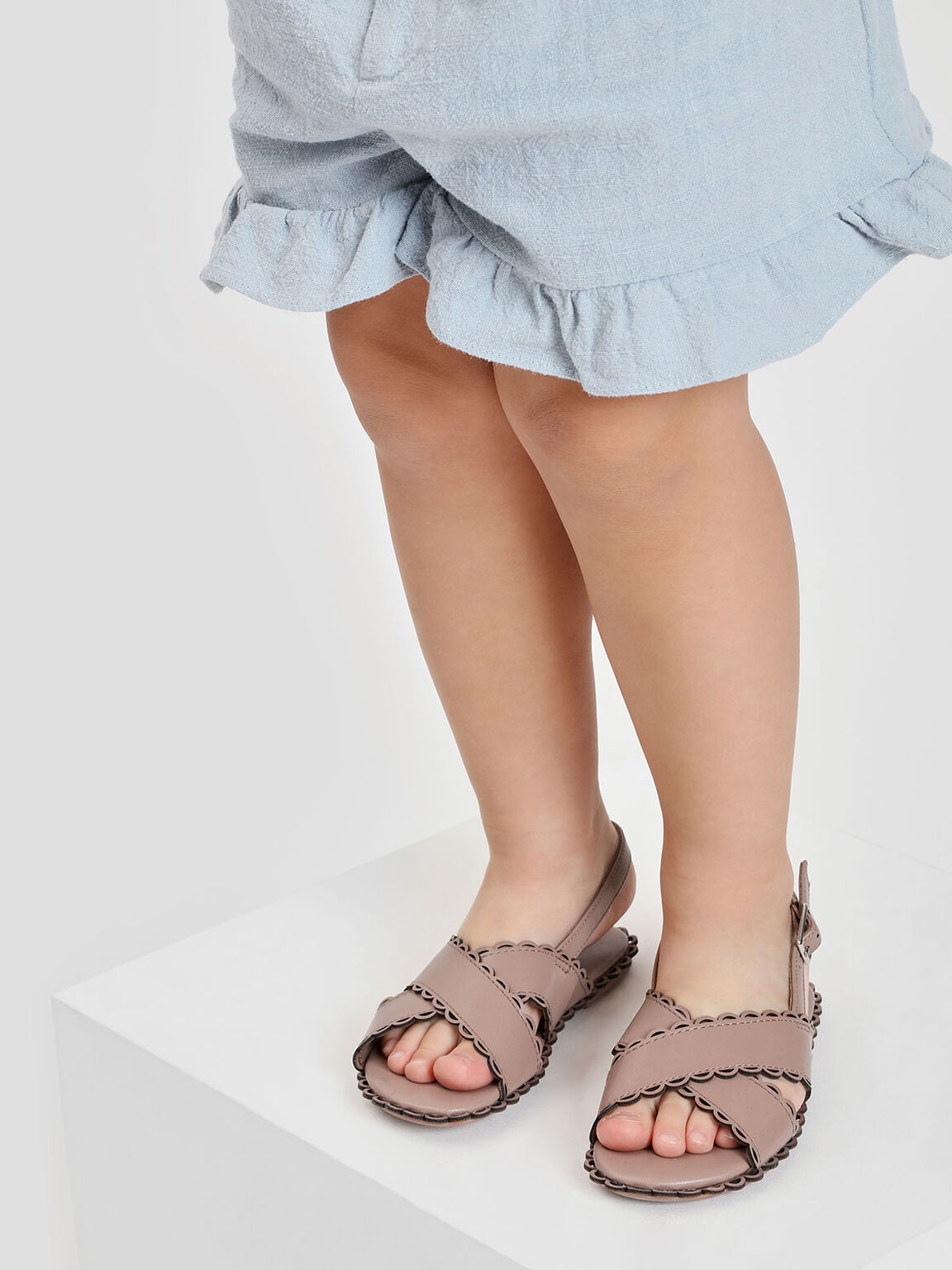 Kids Scallop Trimming Slingbacks, Nude, hi-res