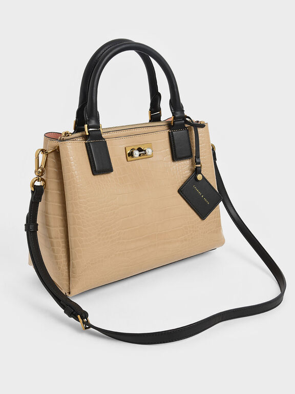 Croc-Effect Large Structured Bag, Beige