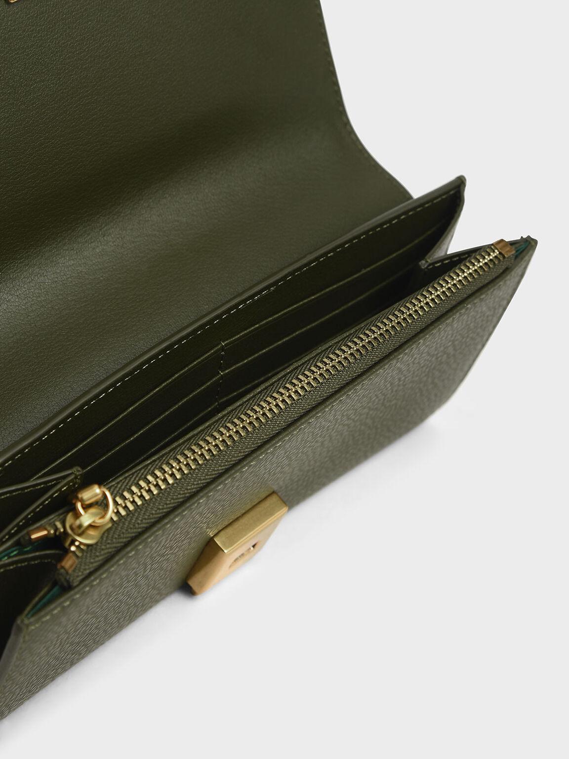 Mini Long Wallet, Olive, hi-res