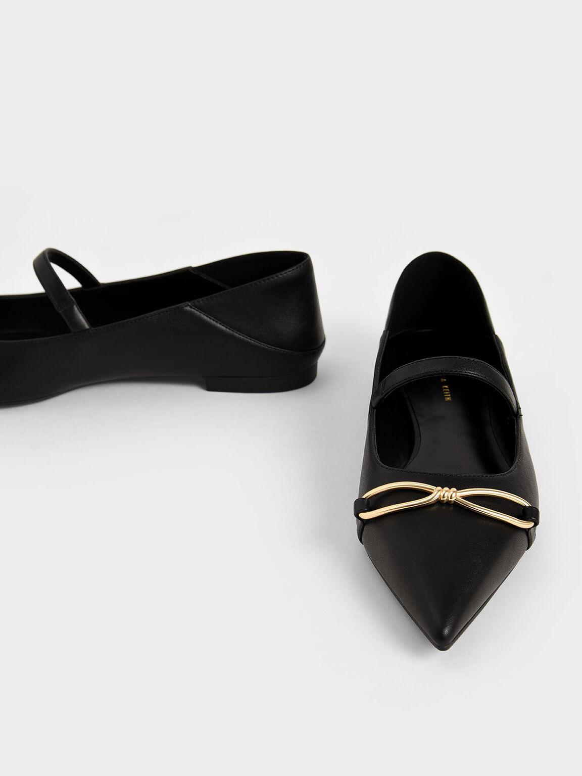 Metallic Bow Mary Janes, Black, hi-res