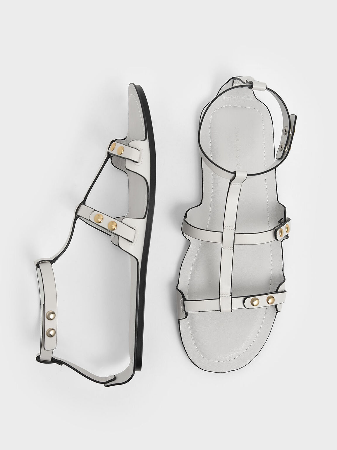 Studded Gladiator Sandals, White, hi-res