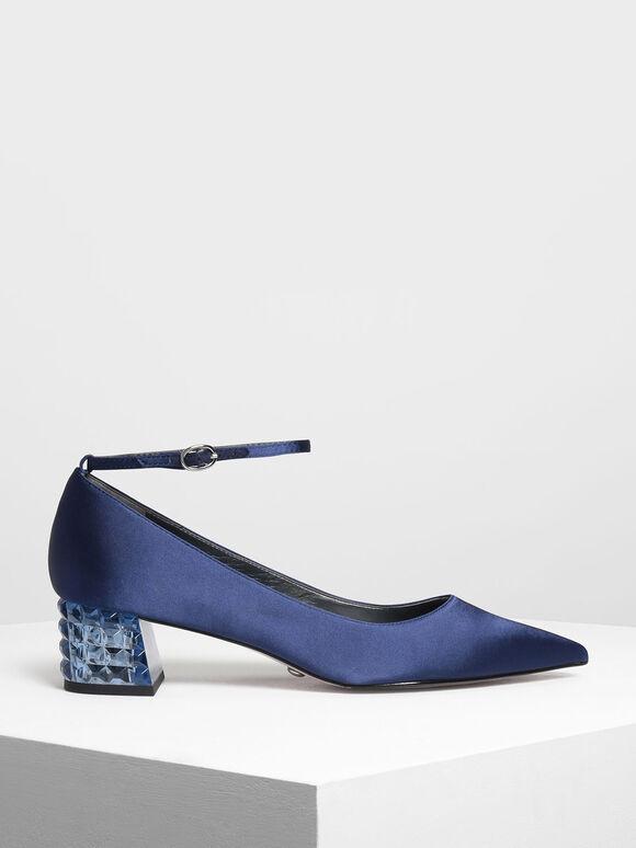 水晶跟尖頭鞋, 藍色, hi-res