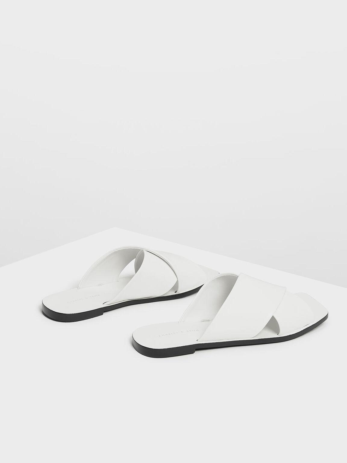 Crossband Square Toe Sliders, White, hi-res