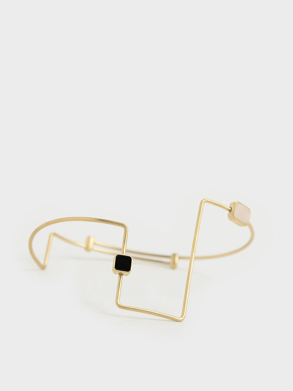 Mother Of Pearl Sculptural Cuff Bracelet, Gold, hi-res